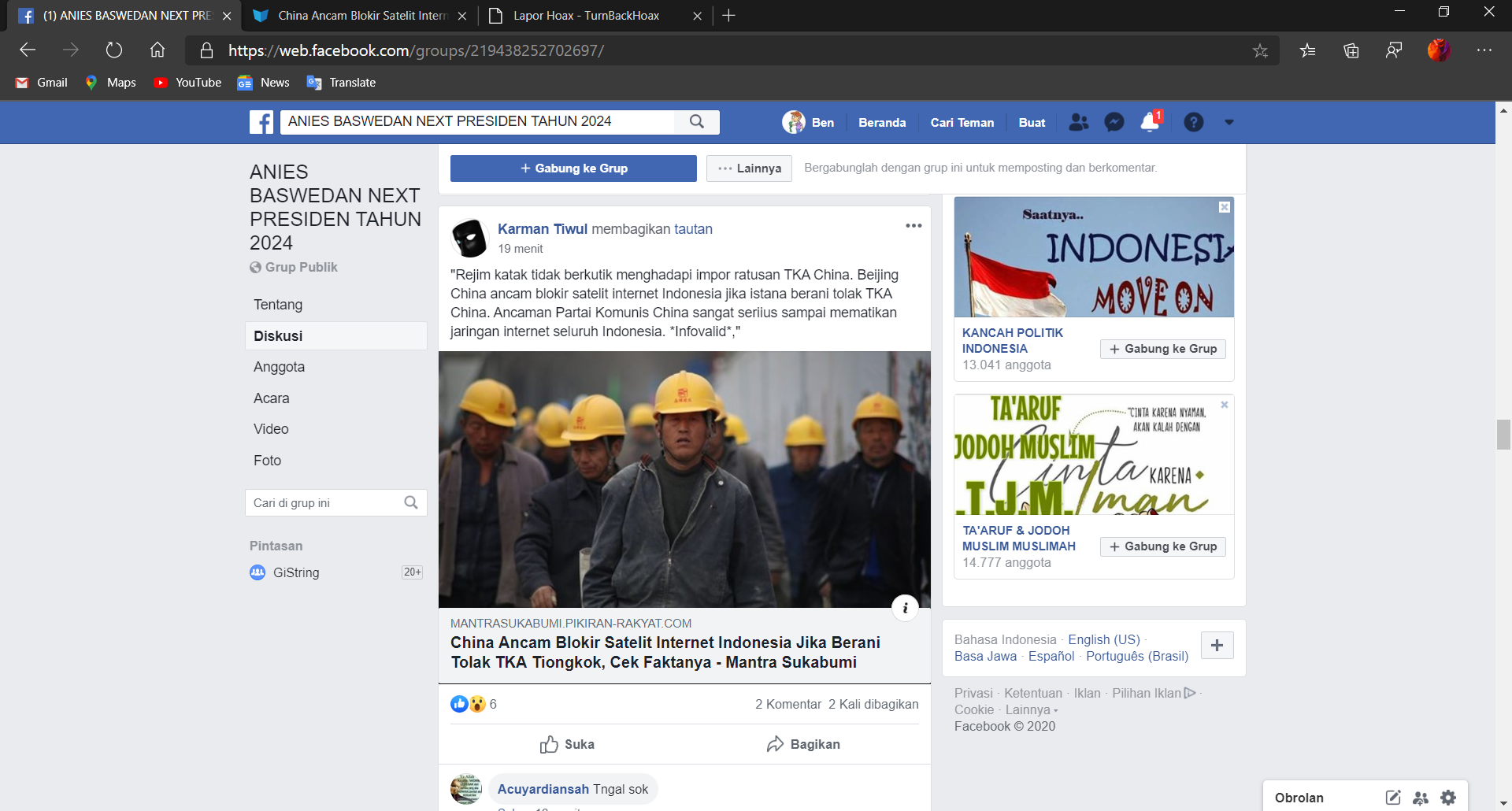 ANIES BASWEDAN NEXT PRESIDEN TAHUN 2024 and 1 more page - Personal - Microsoft​ Edge 10_05_2020 14_52_54.png